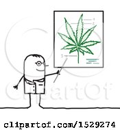 Clipart Of A Stick Man Doctor Discussing The Medical Benefits Of Cannabis Royalty Free Vector Illustration