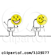 Poster, Art Print Of Stick Business Man Holding Happy And Sad Signs