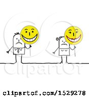Poster, Art Print Of Unhappy Stick Couple Holding Happy Signs