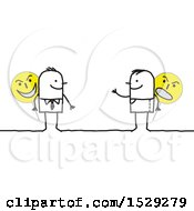 Clipart Of A Stick Business Man And Guy Holding Evil Signs Royalty Free Vector Illustration