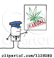 Clipart Of A Stick Man Police Office Discussing Illegal Use Of Marijuana Royalty Free Vector Illustration
