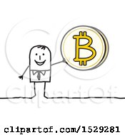 Clipart Of A Stick Business Man Holding Up A Bitcoin Royalty Free Vector Illustration by NL shop