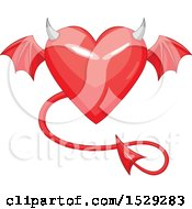 Clipart Of A Red Heart With A Devil Tail Horns And Wings Royalty Free Vector Illustration