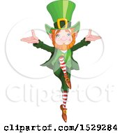 Clipart Of A St Patricks Day Leprechaun Dancing Royalty Free Vector Illustration