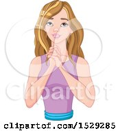 Clipart Of A Caucasian Woman Praying Or Pleading Royalty Free Vector Illustration