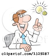 Clipart Of A Cartoon Business Man Making A Point With An Idea Light Bulb Royalty Free Vector Illustration