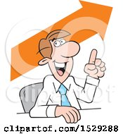 Clipart Of A Cartoon Business Man Making A Point Upward Trend Royalty Free Vector Illustration