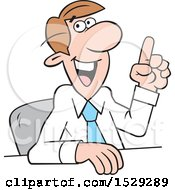 Clipart Of A Cartoon Business Man Making A Point Royalty Free Vector Illustration