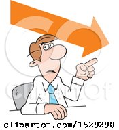 Clipart Of A Cartoon Business Man Making A Point Downward Trend Royalty Free Vector Illustration