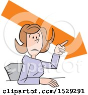 Clipart Of A Cartoon Business Woman Making A Point Downward Trend Royalty Free Vector Illustration
