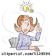 Clipart Of A Cartoon Business Woman Making A Point With An Idea Royalty Free Vector Illustration by Johnny Sajem