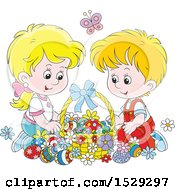 Clipart Of A Happy Caucasian Boy And Girl With An Easter Basket Royalty Free Vector Illustration by Alex Bannykh
