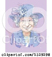 Clipart Of A Painted Happy Senior Woman On Purple Royalty Free Illustration