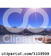 Clipart Of A 3d Surreal Coastal Lanscape Background Royalty Free Illustration