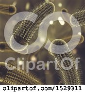 Clipart Of A 3d Golden Virus Background Royalty Free Illustration