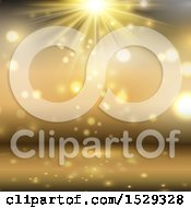 Clipart Of A Golden Spotlight Background Royalty Free Vector Illustration