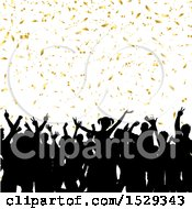 Clipart Of A Silhouetted Crowd Of People In An Audience With Gold Confetti Royalty Free Vector Illustration