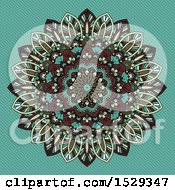 Clipart Of A Retro Styled Mandala Pattern Over Turquoise Stripes Royalty Free Vector Illustration