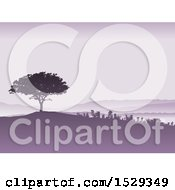 Clipart Of A Purple Silhouetted Tree And Landscape Background Royalty Free Vector Illustration