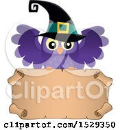 Blank Parchment Scroll With A Halloween Witch Owl