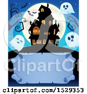 Clipart Of A Blank Parchment Scroll With A Halloween Haunted House And Ghosts Royalty Free Vector Illustration
