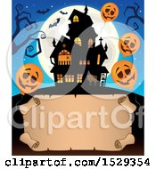 Clipart Of A Blank Parchment Scroll With A Halloween Haunted House And Balloons Royalty Free Vector Illustration