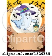 Blank Parchment Scroll With A Halloween Witch Ghost