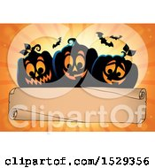 Clipart Of A Blank Parchment Scroll With Black Halloween Jackolantern Pumpkins Over Orange Rays Royalty Free Vector Illustration