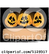 Blank Parchment Scroll With Halloween Jackolantern Pumpkins On Black Grunge