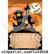 Clipart Of A Blank Parchment Scroll With A Halloween Haunted House Royalty Free Vector Illustration