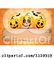 Blank Parchment Scroll With Halloween Jackolantern Pumpkins Over Orange Rays