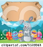 Gray Easter Bunny Rabbit With A Blank Parchment Scroll
