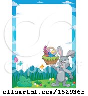 Border With A Gray Easter Bunny Rabbit