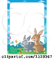 Border With A Pair Of Bunny Rabbits