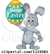 Gray Bunny Rabbit Holding A Happy Easter Egg