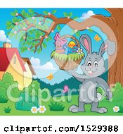 Clipart Of A Gray Bunny Rabbit Holding An Easter Basket Royalty Free Vector Illustration