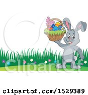 Gray Bunny Rabbit Holding An Easter Basket