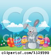 Gray Bunny Rabbit With Easter Eggs