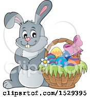 Clipart Of A Gray Bunny Rabbit With An Easter Basket Royalty Free Vector Illustration by visekart