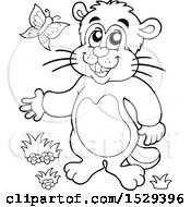 Clipart Of A Black And White Groundhog Royalty Free Vector Illustration