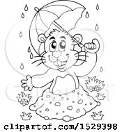 Clipart Of A Black And White Groundhog Holding An Umbrella Royalty Free Vector Illustration