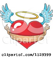 Clipart Of A Flying Angel Heart With A Blank Ribbon Banner Royalty Free Vector Illustration