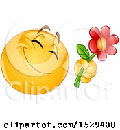 Clipart Of A Romantic Yellow Emoji Smiley Giving A Flower Royalty Free Vector Illustration