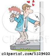 Caucasian Man Ringing A Doorbell And Holding A Boquet Of Roses