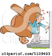 Caucasian Man Ringing A Doorbell And Holding A Giant Teddy Bear