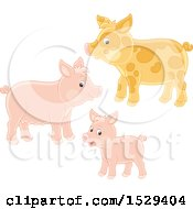 Clipart Of A Pig Family Royalty Free Vector Illustration