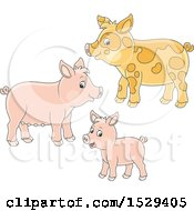 Clipart Of A Cute Pig Family Royalty Free Vector Illustration