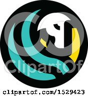Clipart Of A Round Horse And Turquoise Hair Circle Design Royalty Free Vector Illustration