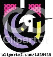 Clipart Of A Patterned Letter U Unicorn Design Royalty Free Vector Illustration