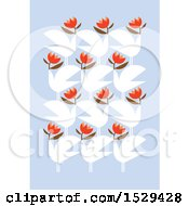 Poster, Art Print Of Pattern Of Doves With Flowers On Pastel